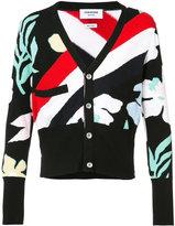 Thom Browne striped floral cardigan - men - Cashmere - 2