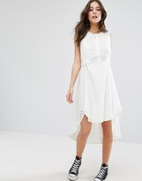 French Connection Warrior Check Waterfall Midi Dress