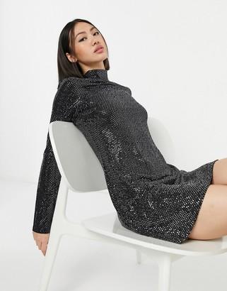 ELVI metallic high-neck dress in black