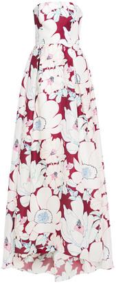 Carolina Herrera Strapless Floral-print Silk-taffeta Gown