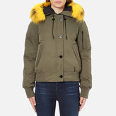 Kenzo Women's Removable Yellow Fur Lined Short Parka Dark Khaki