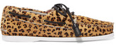 Topshop Harpsden Leopard-Print Calf Hair Boat Shoes