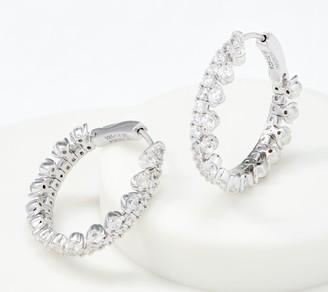 Diamonique Flexible Hoop Earrings, Sterling Silver