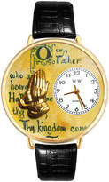 Whimsical Watches Personalized Lords Prayer Womens Gold-Tone Bezel Black Leather Strap Watch