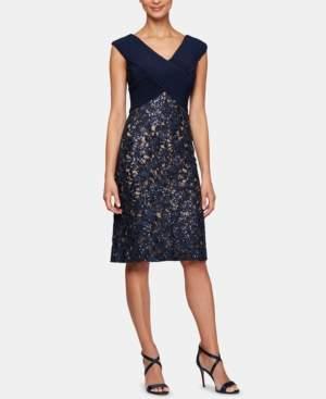 Alex Evenings Sequinned-Lace Sheath Dress