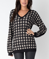 Yuka Paris Black & White Herringbone V-Neck Sweater