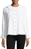 MiH Jeans Frill-Collar Button-Front Fil-Coupe Cotton Shirt