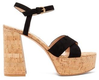 Gianvito Rossi Bebe 70 Crossover-strap Suede Platform Sandals - Black