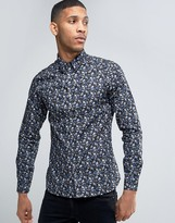 French Connection Purple Floral Slim Fit Shirt