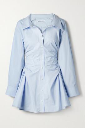 alexanderwang.t Gathered Cotton-poplin Mini Shirt Dress - Light blue