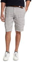 Brunello Cucinelli Linen Cargo Shorts, Light Gray