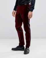 Asos Super Skinny Smart Velvet Pants With Sateen Side Stripe In Red