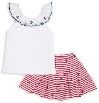 Florence Eiseman Little Girl's 2-Piece Anchor-Print Ruffle Shirt & Skort Set