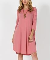 Dusty Rose Three-Quarter Sleeve Side-Pocket Swing Tunic Dress