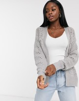 Brave Soul bounce pointelle cardigan in grey