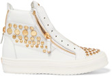 Giuseppe Zanotti Studded suede-paneled leather high-top sneakers