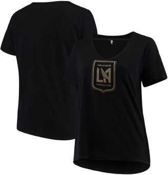New Era Women's 5th & Ocean by Black LAFC Plus Size Athletic Baby V-Neck T-Shirt