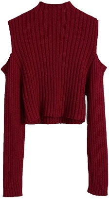 Goodnight Macaroon 'Ethan' Ribbed Cut-Out Shoulder Sweater (4 Colors)