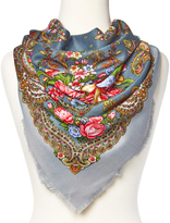 Gray & Red Floral Frayed-Edge Scarf
