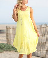 Ananda's Collection Women's Casual Dresses Yellow - Yellow Embroidered Shift Dress - Women