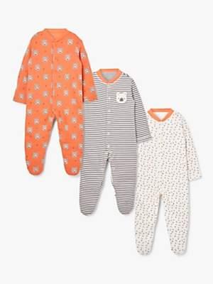 John Lewis & Partners Baby Bear Sleepsuit, Pack of 3, Multi