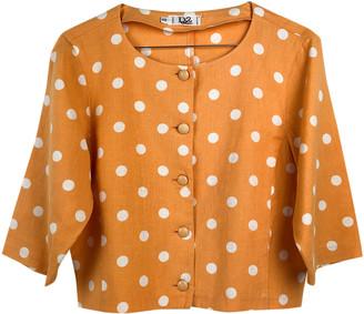 Christian Dior Orange Linen Tops