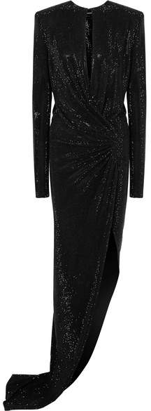 Alexandre Vauthier Draped Embellished Stretch-georgette Gown - Black