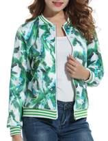 ACEVOG Women Stand Collar Long Sleeve Zipper Floral Printed Bomber Jacket( L)