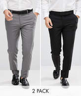 Asos 2 Pack Skinny Smart Trousers In Black And Grey