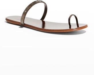 Pedro Garcia Pepa Crystal Toe-Ring Flat Sandals