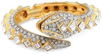 Kenneth Jay Lane 22K Goldplated & Crystal Pave Snake Hinge Bracelet