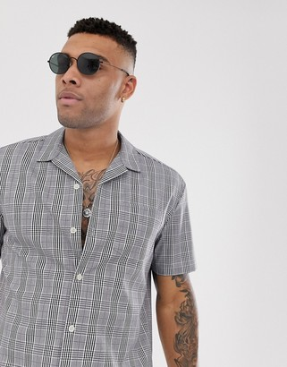 Asos Design DESIGN oversized boxy fit shirt in prince of wales check-Gray