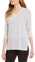 Eileen Fisher V-Neck Long Sleeve Striped Tunic