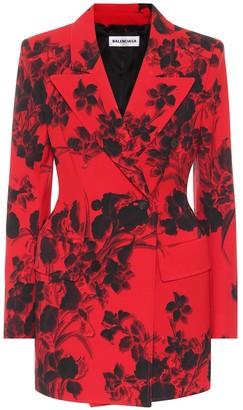Balenciaga Hourglass floral virgin wool blazer
