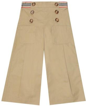 BURBERRY KIDS Wide-leg cotton twill pants