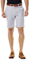 Haggar Cool 18 Seersucker Stripe Short - Regular Fit, Flat Front, Expandable Waistband