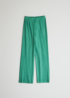 Pleats Please Issey Miyake Women's Straight Leg Pant in Green, Size 4 | 100% Polyester