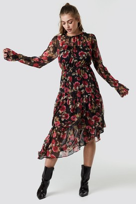 NA-KD Asymmetric Chiffon Frill Dress