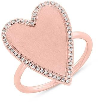 Ron Hami 14K Rose Gold Pave Diamond Halo Heart Ring - 0.12 ctw - Size 7