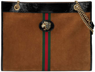 Gucci Linea Rajah Large Suede Shoulder Tote Bag with Patent Trim