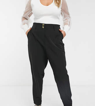 New Look Plus Curve utility trousers in black