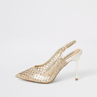 River Island Gold mesh perspex heeled court shoes