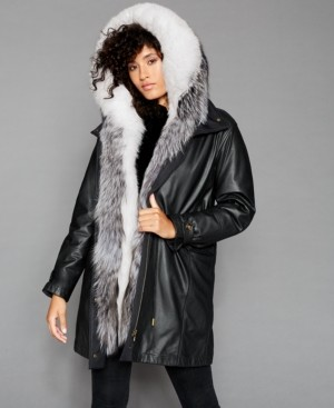 The Fur Vault Fox & Rabbit-Fur-Trim Hooded Leather Coat