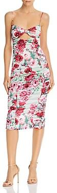 For Love & Lemons Robin Floral Print Cutout Midi Dress