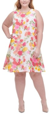 Tommy Hilfiger Plus Size Lucia Floral-Print Chiffon Trapeze Dress