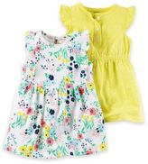 Carter's 2-Pack Floral Print Flutter Sleeve Dresses in Yellow