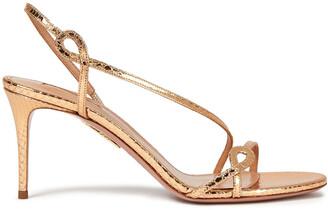 Aquazzura Metallic Snake-effect Leather Slingback Sandals