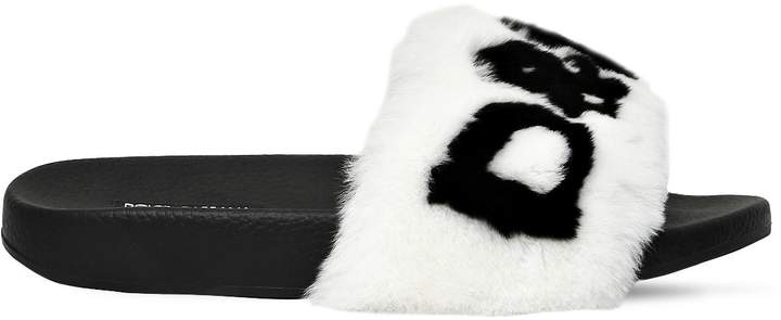 Dolce & Gabbana 20mm Rabbit Fur Logo Slide Sandals