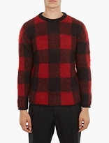 Valentino Black & Red Checked Mohair Sweater
