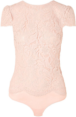 I.D. Sarrieri Nuit Ephemere Chantilly Lace And Satin Bodysuit
